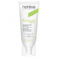 NOREVA Exfoliac fluidas nuo saulės į aknę linkusiai odai spf50 40 ml.